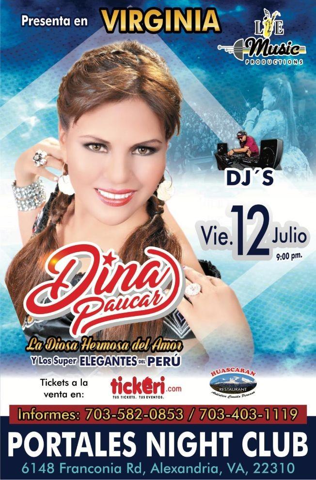 Flyer for Dina Paucar y Los Super Elegantes del Perú en Concierto en Alexandria,VA