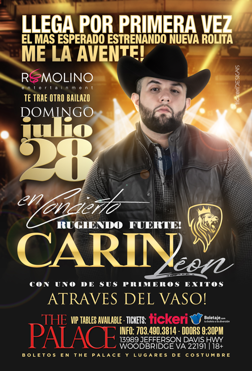 Flyer for Carin Leon en Woodbridge,VA