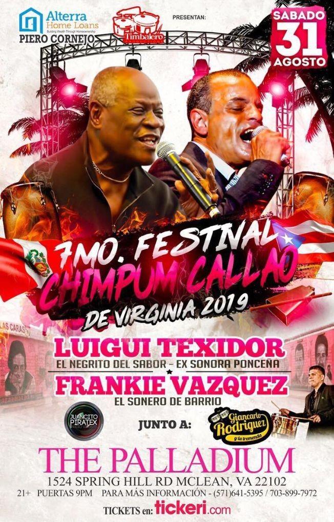 Flyer for 7mo Festival Chimpum Callao con Luigi Texidor & Frankie Vazquez en McLean,VA