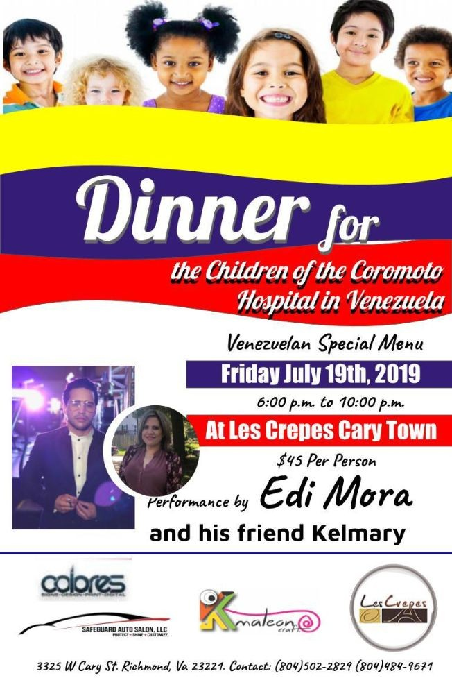 Flyer for DInner for the Children of the Coromoto Hospital in Venezuela