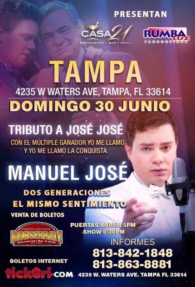 Flyer for Tributo a Jose Jose con Manuel Jose en Tampa