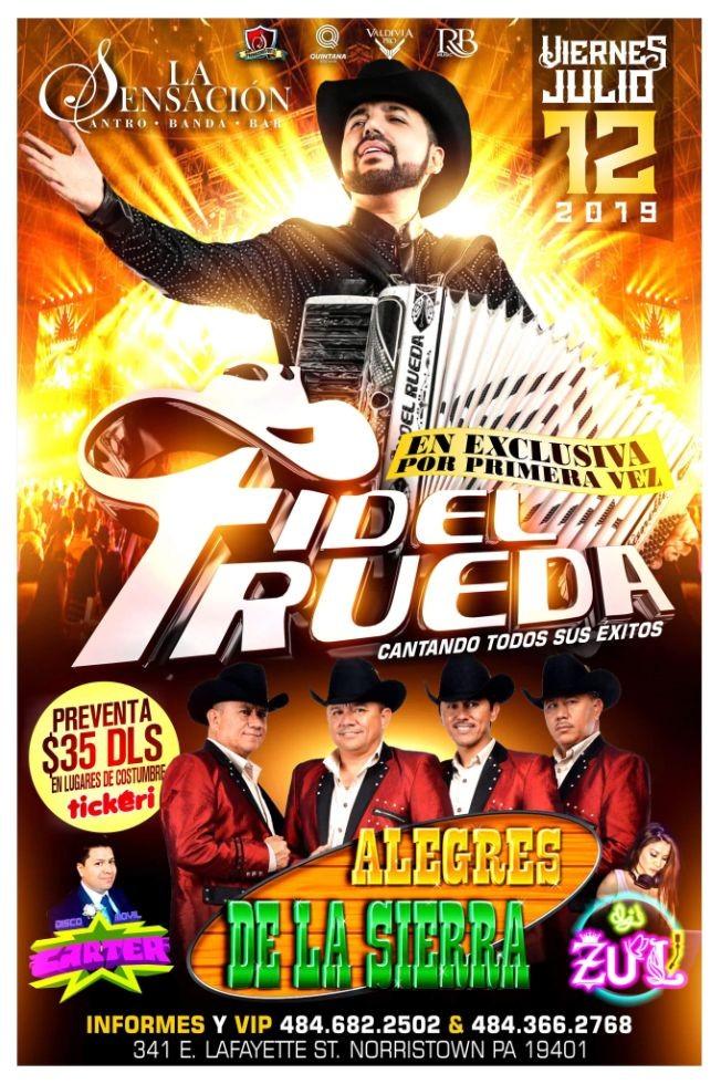Flyer for FIDEL RUEDA Y ALEGRES DLS EN LA SENSACION