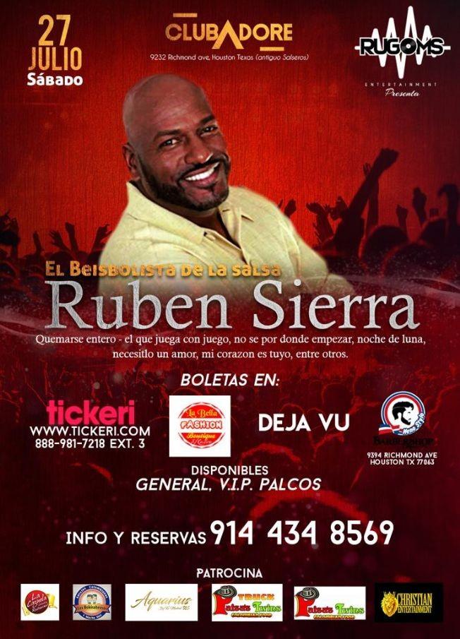 Flyer for RUBEN SIERRA EL BEISBOLISTA DE LA SALSA EN COCIERTO