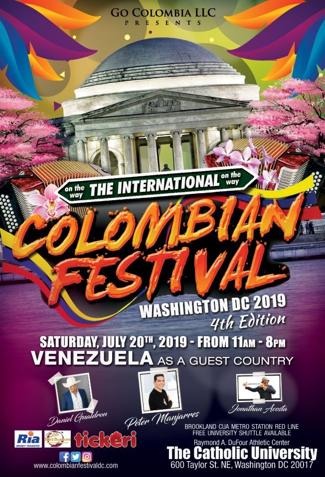 Flyer for The  International Colombian Festival  Washington DC 2019