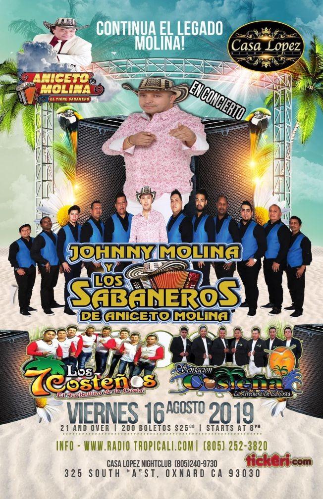 Flyer for Jhonny Molina y Los Sabaneros de Aniceto Molina en Concierto En Oxnard,CA