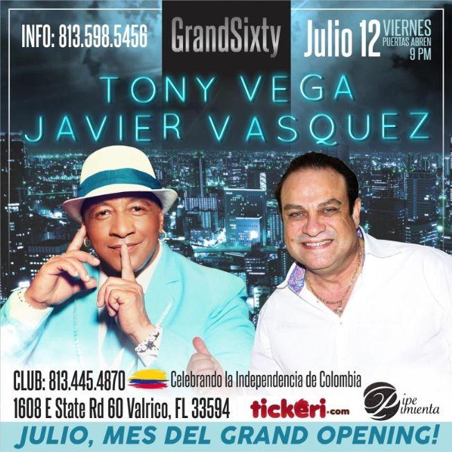 Flyer for Tony Vega ,Javier Vasquez en Concierto En Valrico,FL
