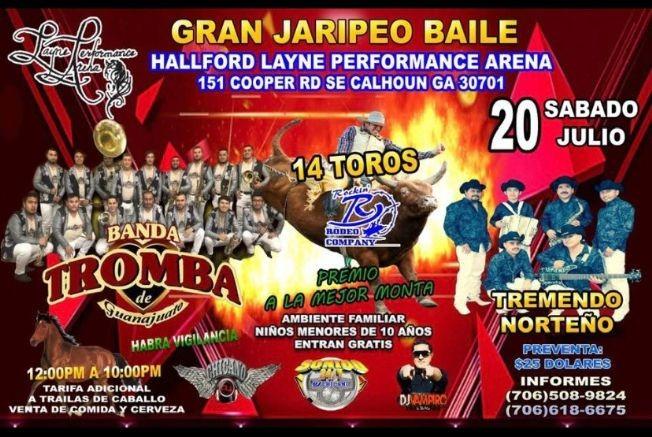 Flyer for Gran Jaripeo Baile con La Banda Tromba,14 Toros y Mucho Mas En Calhoun,GA
