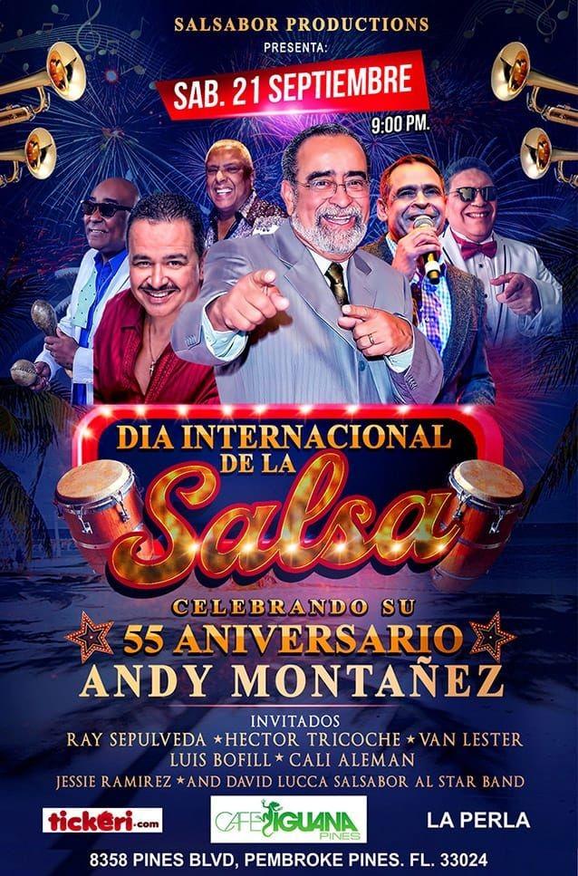 Flyer for El Dia Internacional de la Salsa  Andy Montañes 55 aniversario