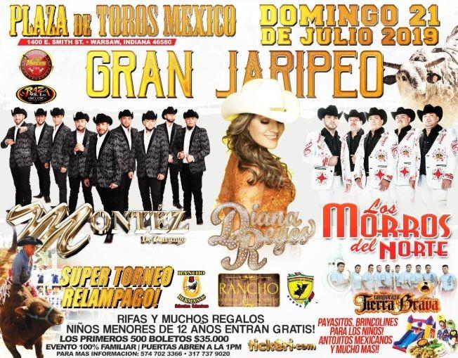 """Flyer for """"Gran Jaripeo"""" Diana Reyes, Los Morros Del Norte y Montez de Durango"""