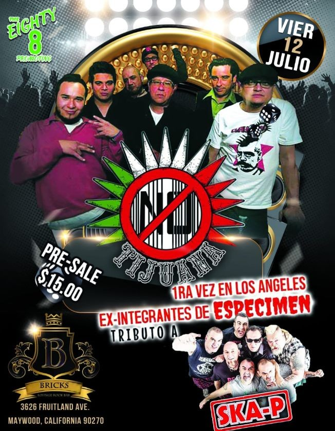 Flyer for TIJUANA NO en Los Angeles & SKA-P live tribute!!