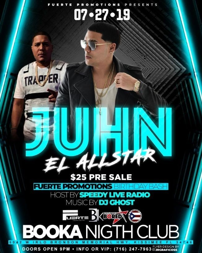 Flyer for Juhn El All Star en Kissmmee,FL