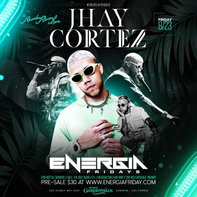 Flyer for Jhay Cortez Live At Rumba Room live
