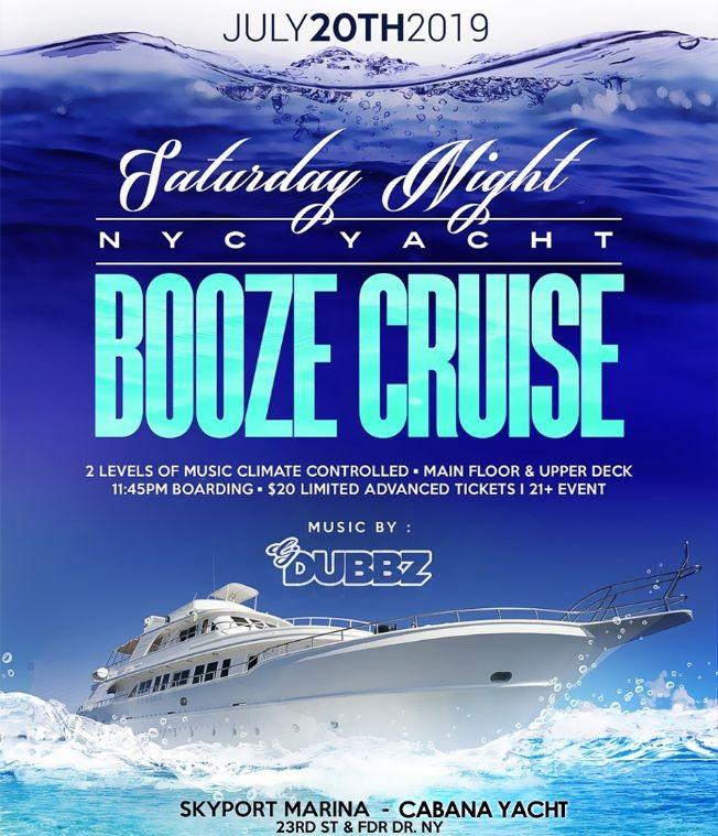 Flyer for Saturday Night NYC Yacht Booze Cruise At Cabana Yacht