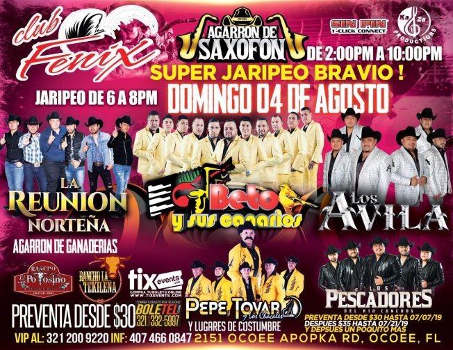 Flyer for Super Jaripeo Bravio Con Grupo La Reunion Norteña,Betos y sus Canarios En Ocoee,FL