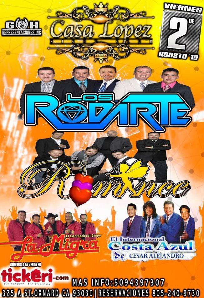 Flyer for Los Rodarte,Grupo Romance,La Migra y Costa Azul En Concierto En Oxnard,CA