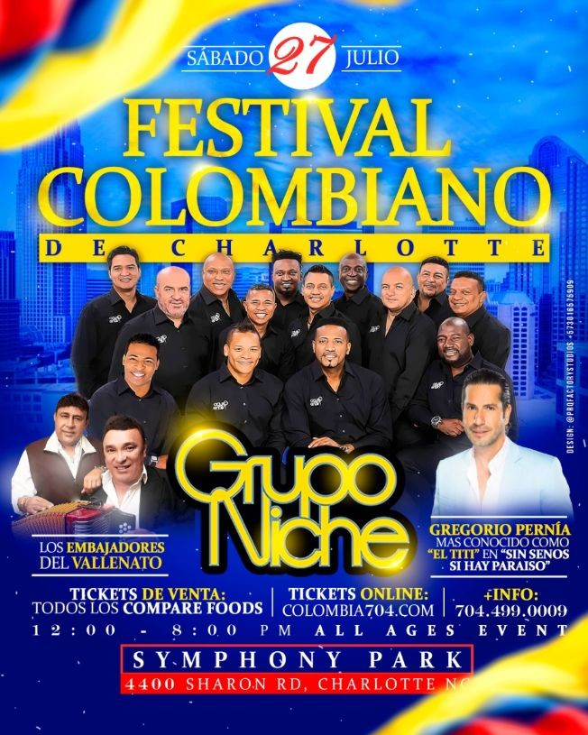 Flyer for FESTIVAL COLOMBIANO DE CHARLOTTE 2019