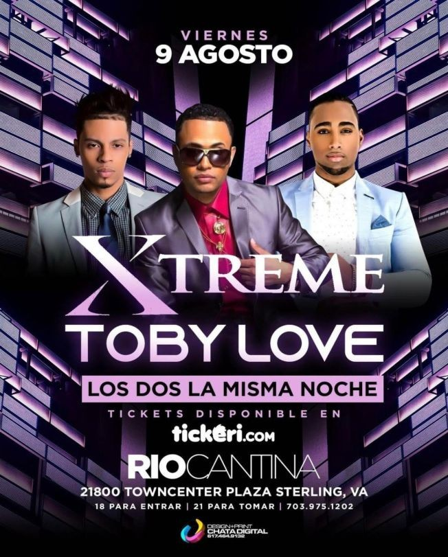 Flyer for Toby Love y Xtreme en Rio Cantina