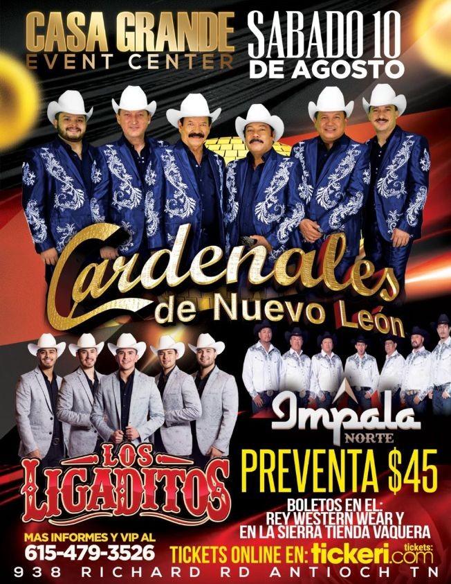 Flyer for Cardenales de Nuevo Leon,Los Ligaditos E Impala Norte En Concierto En Antioch,TN