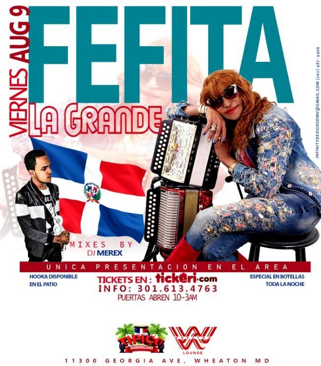 Flyer for FEFITA LA GRANDE VIERNES 9 DE AGOSTO EN TIPICO DOMINICANO RESTAURANT