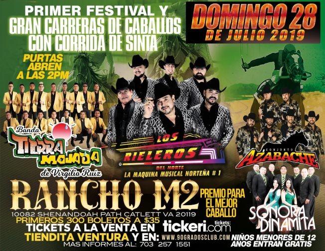 Flyer for Primer Festival y Gran Carreras de Caballos Con Corrida de Sinta En Catlett,VA