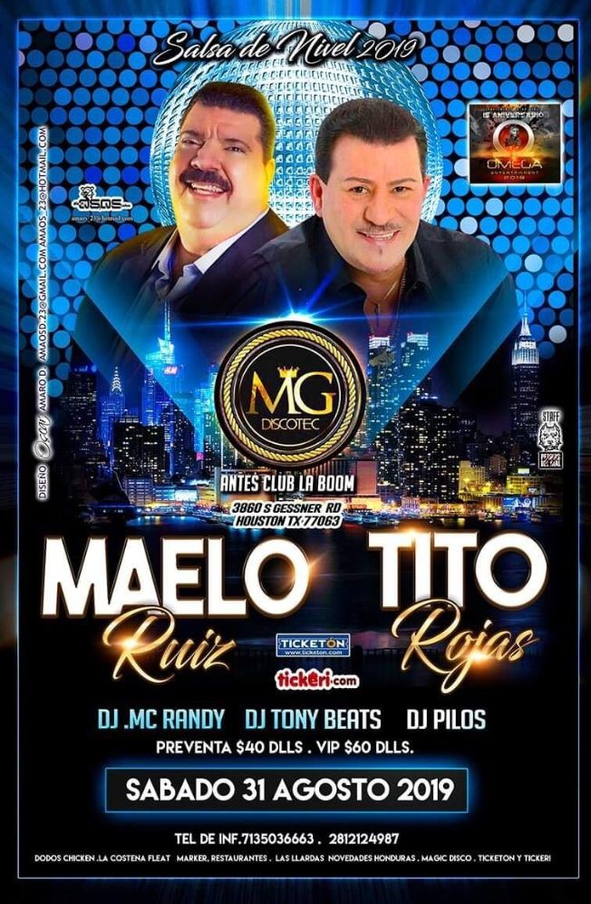 Flyer for Maelo Ruiz Y Tito Rojas En Houston,TX