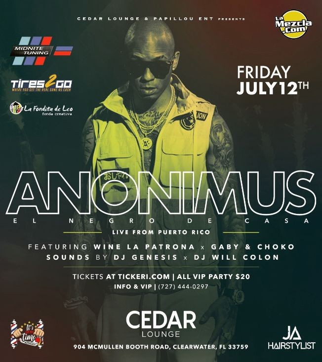 Flyer for Anonimus Live in Clearwater