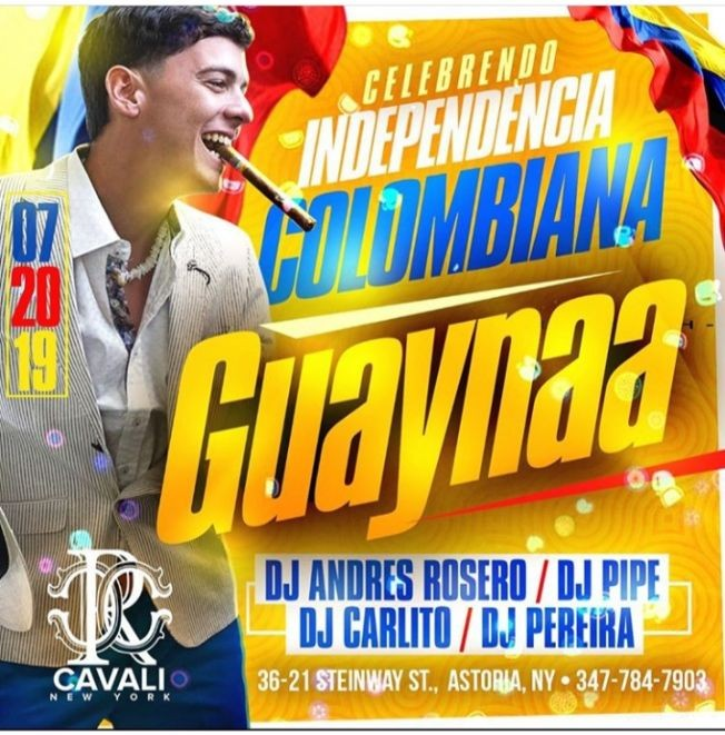 Flyer for Colombian Independence Party Guaynaa Live At Cavali