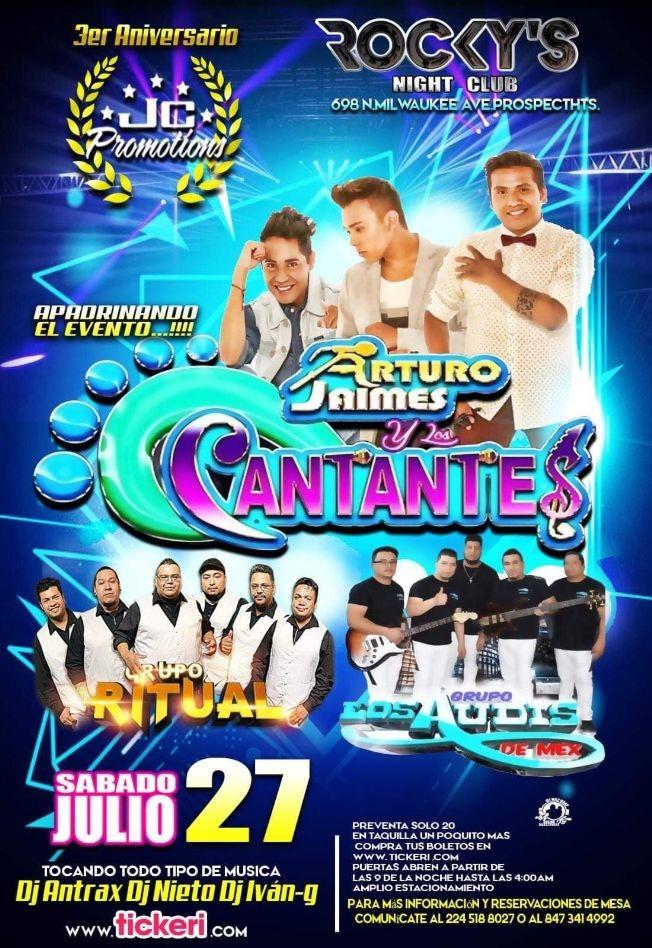 Flyer for ROCKYS NIGHTCLUB !!!!!ARTURO JAIMES Y LOS CANTANTES!!!!!!