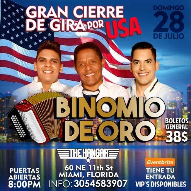 Flyer for Gran Cierre de Gira Por USA Binomio de Oro En Miami,FL