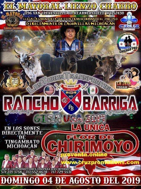 Flyer for Rancho Barriga Gira USA 2019,Los Toros Transformes En Kearneysville,WV