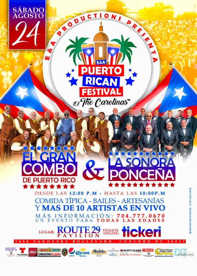 Flyer for E&A Puerto Rican Festival of the Carolinas TM Featuring El Gran Combo, La Sonora Ponceña and many more!