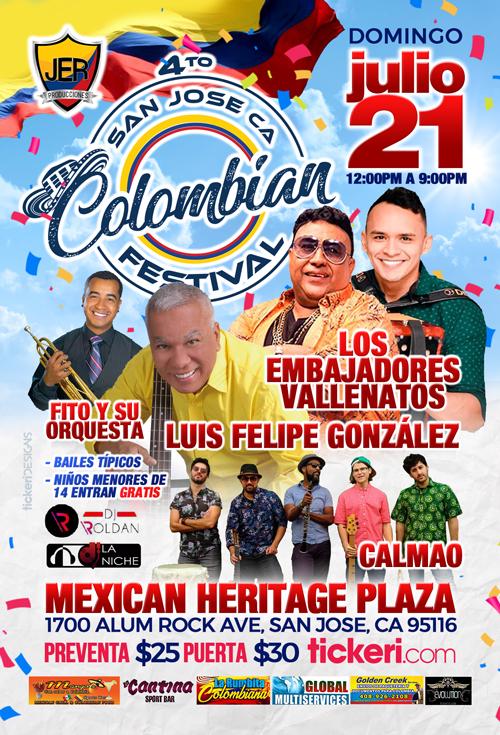 Flyer for 4to Festival Independencia de Colombia en San Jose,CA
