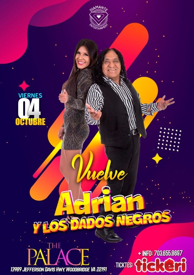 Flyer for Adrian & Los Dados Negros @The Palace