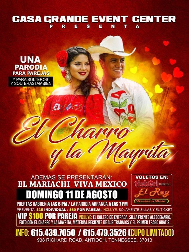 Flyer for El Charro Y La Mayrita Con El Mariachi Viva Mexico En Antioch,TN
