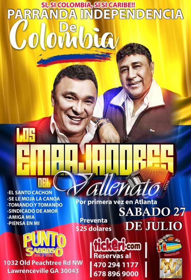 Flyer for LOS EMBAJADORES VALLENATOS EN ATLANTA
