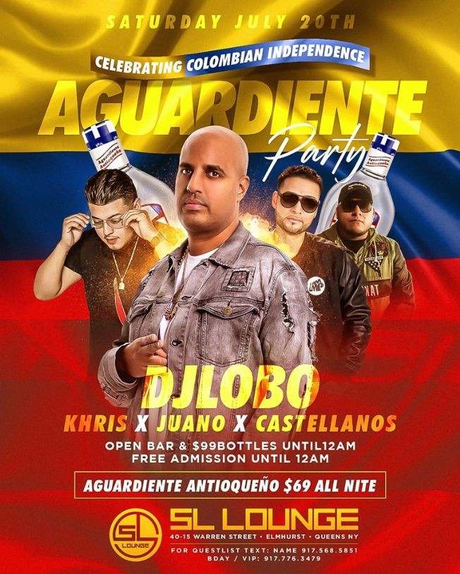 Flyer for Colombian Independence Aguardiente Party At SL Lounge
