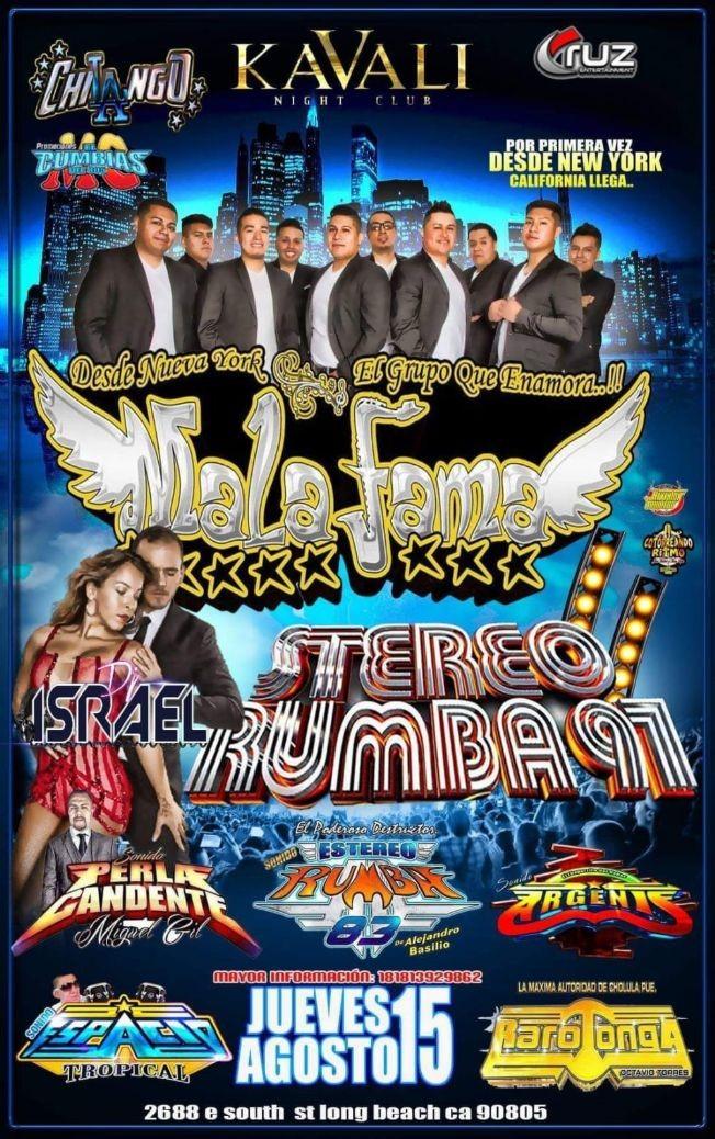 Flyer for Mala Fama, Estereo Rumba 97 en Long Beach,CA-CANCELADO