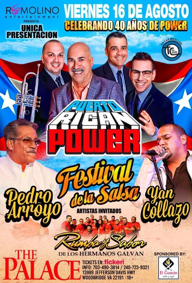 Flyer for FESTIVAL SALSERO!! Con Puerto Rican Power, Pedro Arroyo & Yan Collazo !!