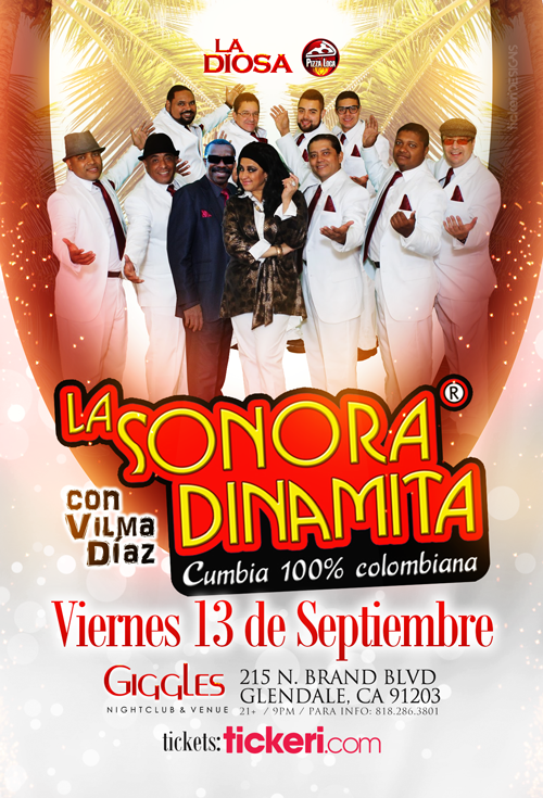 Flyer for LA SONORA DINAMITA EN LOS ANGELES