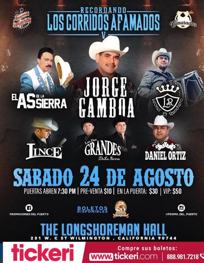 Flyer for El As de la Sierra,Jorge Gamboa y Mas En Concierto En Wilmington,CA