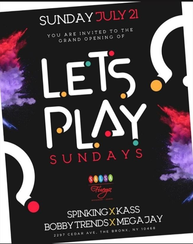 Flyer for Grand Opening Of Let's Play Sundays At Salsa Con Fuego