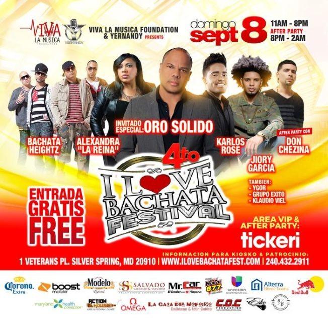 "Flyer for 4to I Love Bachata Festival con Oro Solido, Bachata Heightz, Karlos Rose, Alexandra ""La Reina"" y Mas"