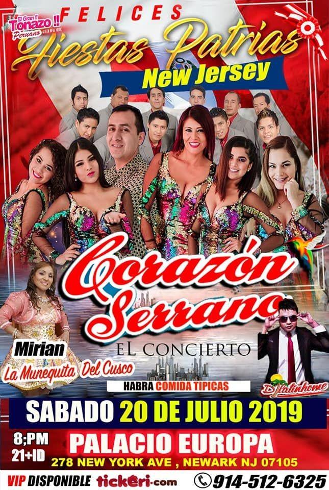 Flyer for CORAZON SERRANO -  HOY . EN NEW JERSEY SABADO 20 JULIO