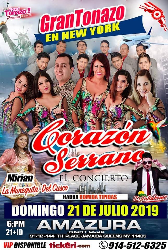 Flyer for CORAZON SERRANO  EN NEW YORK  DOMINGO 21 JULIO AMAZURA