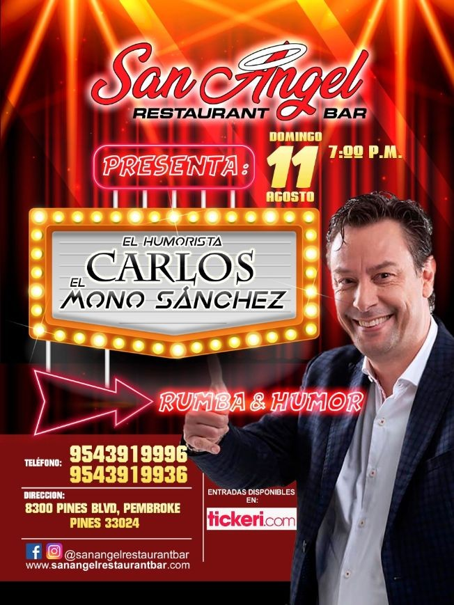 Flyer for Humorista Carlos El Mono Sanchez En Pembroke Pine,FL