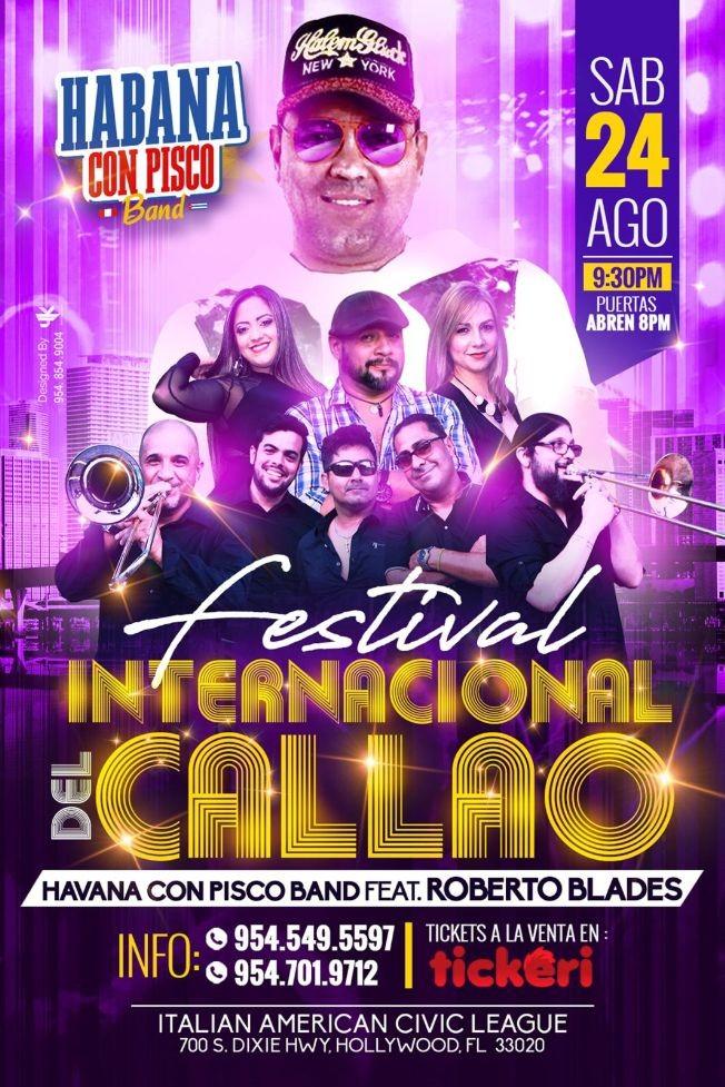 Flyer for HaBana Con Pisco Band featuring Roberto Blades en Festival Internacional del Callao