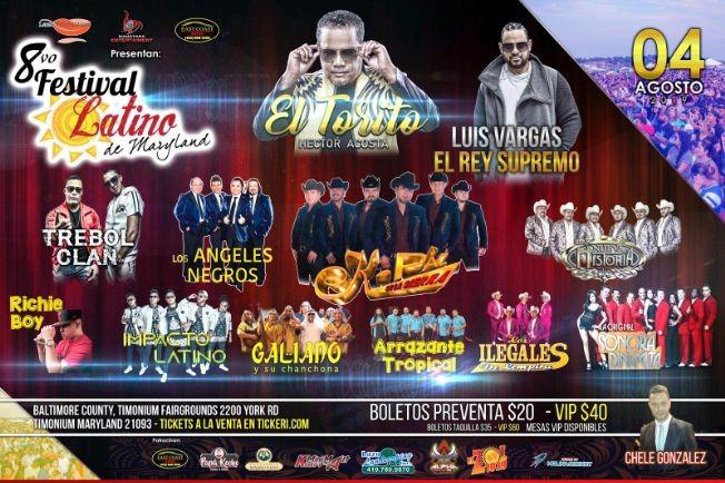Flyer for 8vo Festival Latino con Luis Vargas,Hector Acosta,Trebol Clan & Mas en Timonium,MD