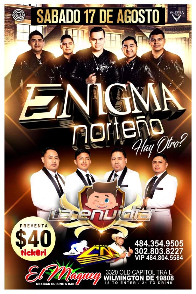 Flyer for ENIGMA NORTENO Y LA ENVIDIA
