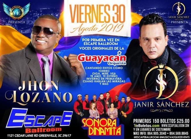Flyer for Guayacan Orquesta, Sonora Dinamita, Jhon Lozano y Mas En Greenville,SC