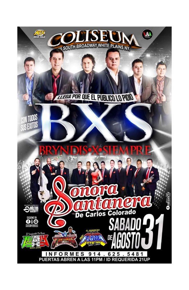 Flyer for Grupo BXS  y Sonora Santanera En White Plains,NY